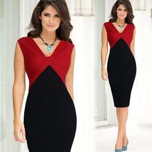 New arrival best selling victorian style office dress v neck sleeveless assorted colors back side slit dress