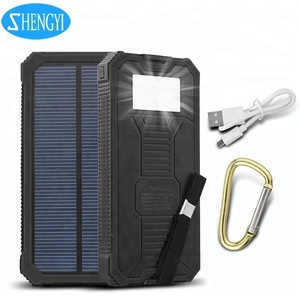 Power Charger Solar 10000Mah Powerbank Portable Charger Ultra Slim Led