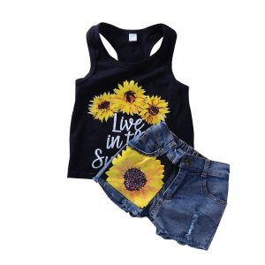 INS trendy sleeveless vest with print denim shorts baby fsun flower outfit