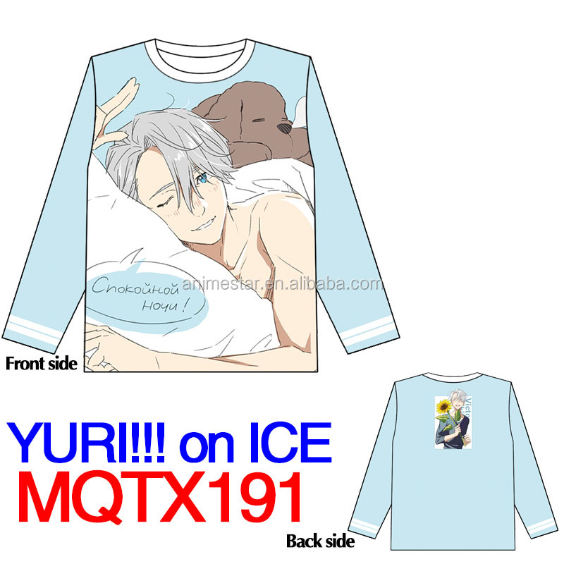 Yuri On Ice Popular Costume Japanese Cartoon Print Fashion Anime Warm Long Sleeve T Shirt