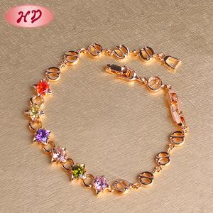Wholesale 2016 new fashion design dubai 18k gold plated zircon jewelry bracelet for women girls