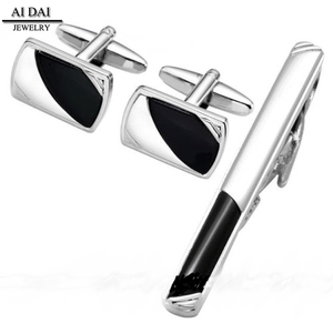 Different types of custom new simple design stainless steel tie clip cufflinks set