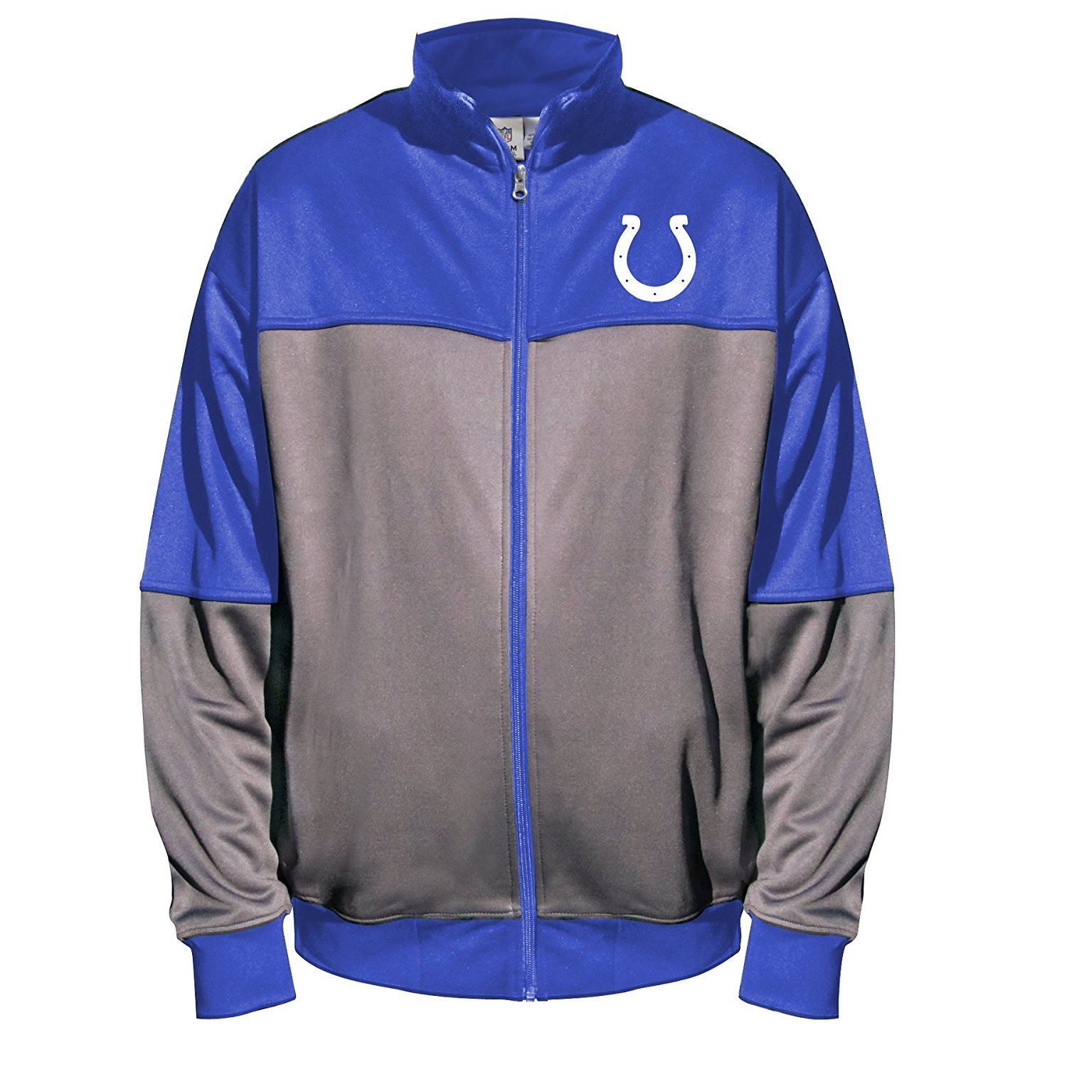 NFL Indianapolis Colts Unisex Poly fleece Track Jacket, CHARCOAL/Blue, 2X