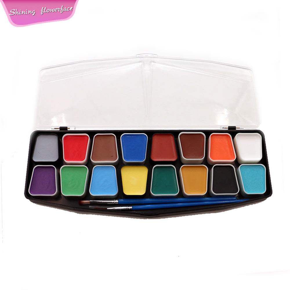 Yüz Boyama Kiti 16 Renk Ile Hediye Kutusu 3 Fırçalar Yüz Boyası Seti