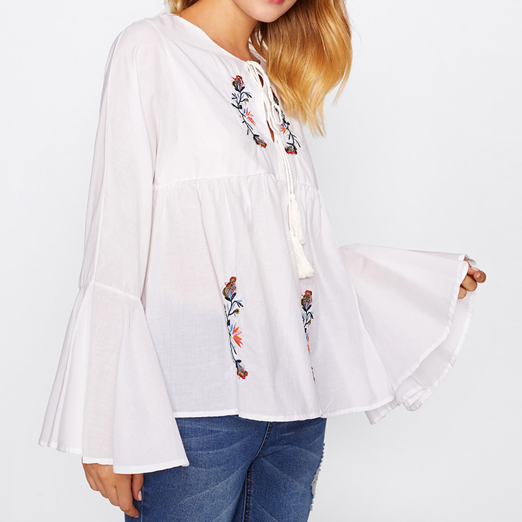 Tassel Tie Neck Bell Sleeve Flower Embroidery Blouse Neck Designs Cutting