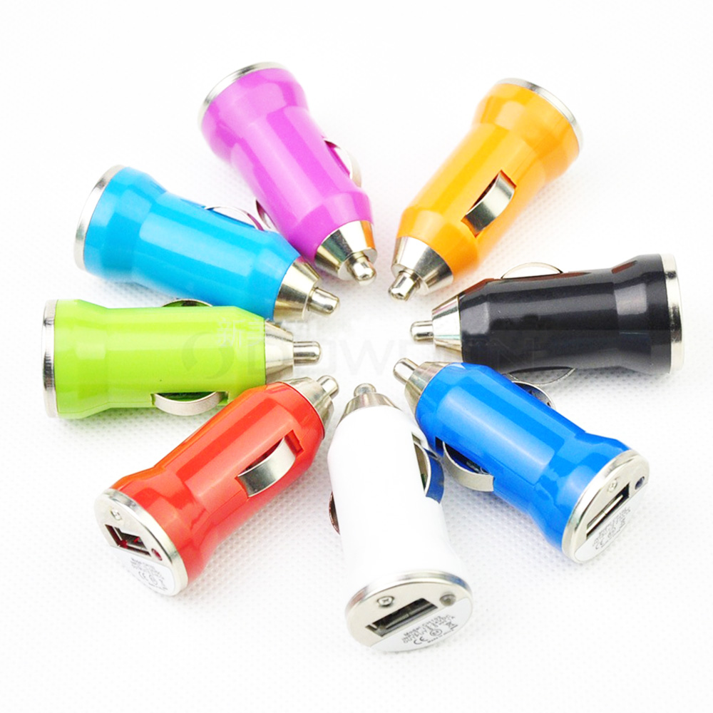Colorful Mini Bullet Car Charger 5V 1000MA USB Car Charger Adapter for Mobile Phone