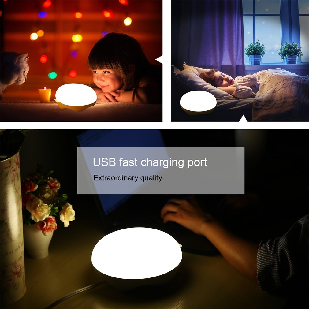 Bedside Lamp,ICOCO Motion Sensor Table Lamp Rechargeable Mood Lamp,Multicolor Dimmable Night Light with USB Charger for Kids, Baby Gift, Living Room, Bedroom, Reading, Outdoor