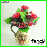 New Arrival 12 heads cheap red roses artificial wholesale for home &wedding decoration