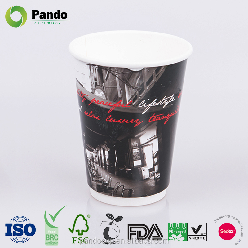 New Style Custome Printed Double Wall Paper Coffee Cups with Lids