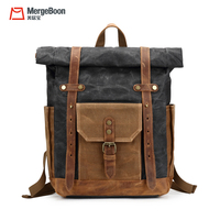 High quality vintage waxed canvas genuine leather school backpack bag