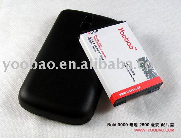 YOOBAO Extended Battery For Blackberry Bold9000 with black cover 2800mah