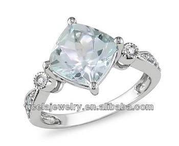Brushed 10k White Gold Aquamarine,Blue Topaz And Diamond Ring ...