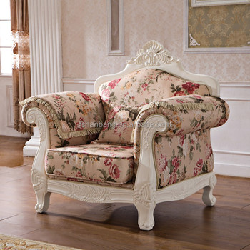 Royal French Provincial Fabric Upholstered Wooden Living Room Sofa ...