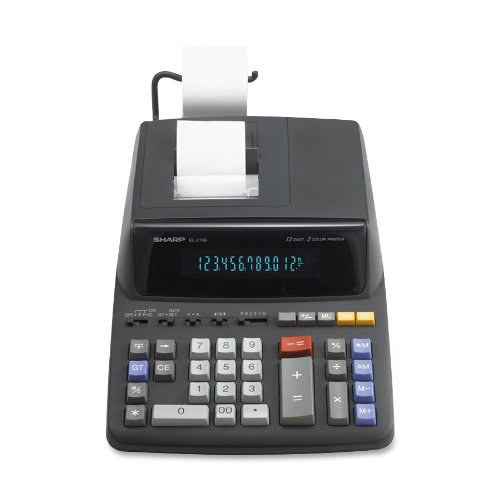 EL-2196BL Desktop Calculator, 12-Digit Fluorescent, 2-Color Printing, Black/Red