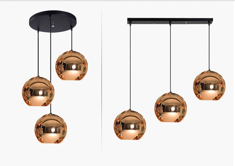 Horstent Nordic Home globe glass pendant lamp silver gold copper color dinning room living room light home decoration lighting (18)