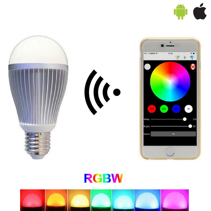 Smartphone controlled 9W RGB+CCT 2.4G WIFI wireless Motion & Ambient Sensor Light Led Lamp Bulb