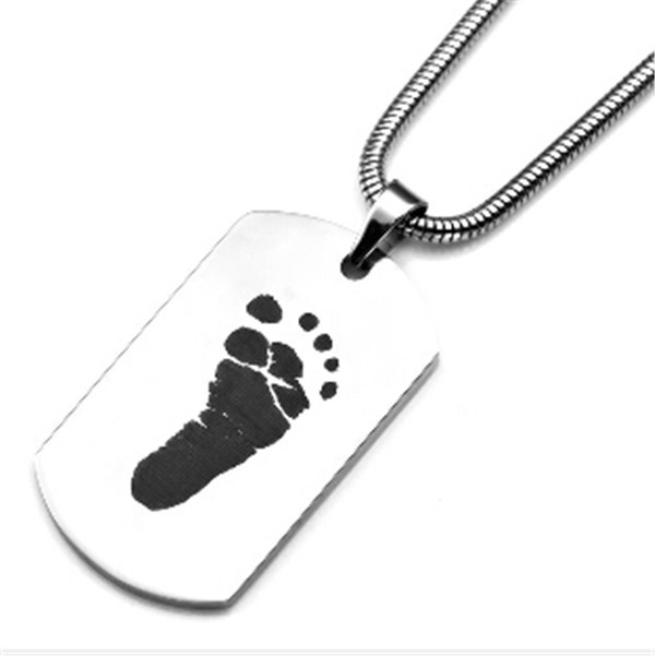 Yiwu Aceon Stainless ink print foot shape dog tag for new baby