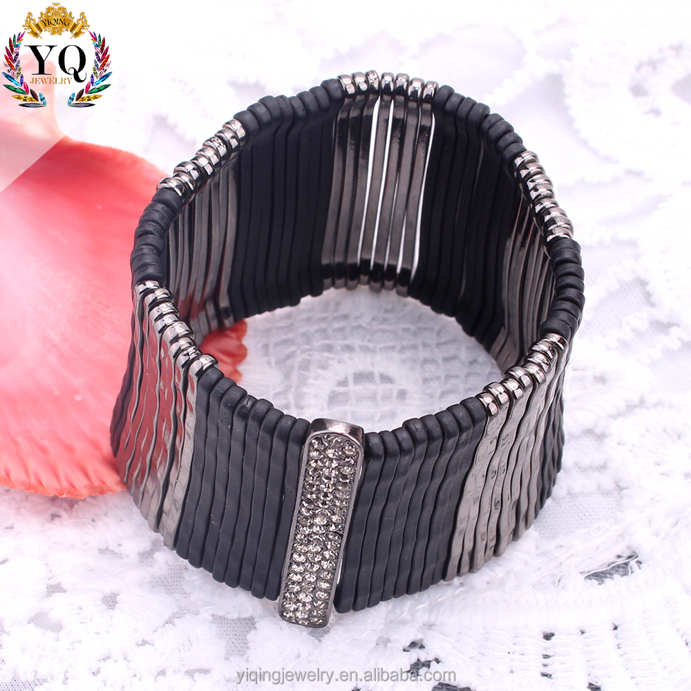 BYQ-00363 wide expandable wire cuff bangle bracelet elastic string black rhinestone for women