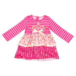 Crown embroidered pink kings girl dress