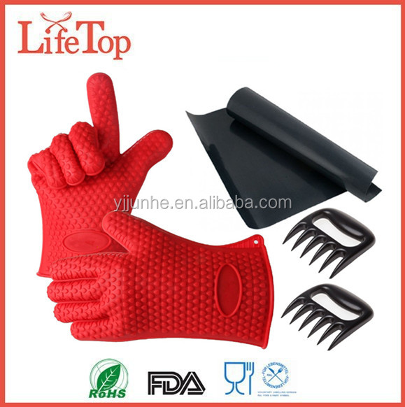 Heat Resistant 5 in 1 BBQ Set Silicone Gloves BBQ Meat Claw BBQ Grill Mat