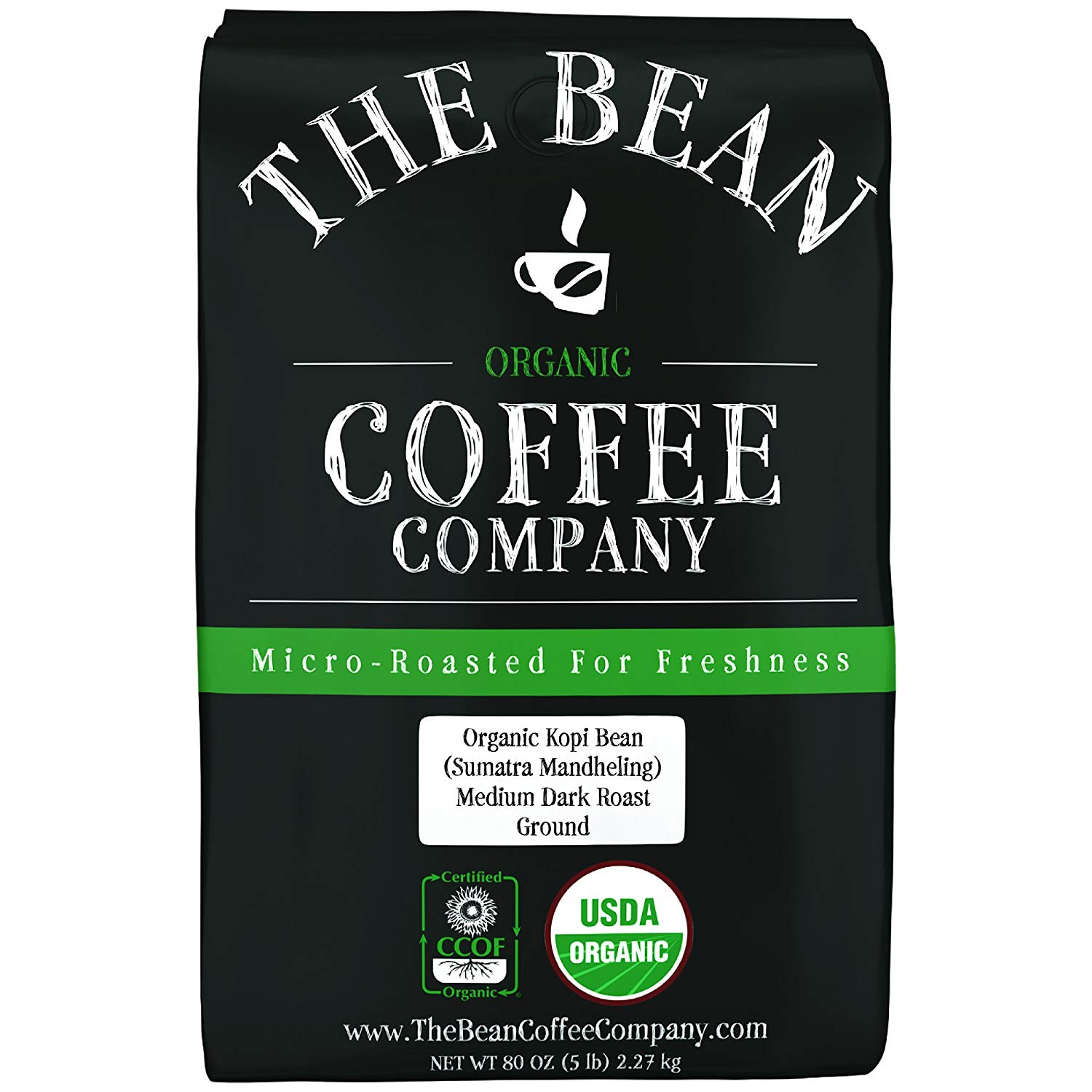 The Bean Coffee Company Organic Kopi Bean (Sumatra Mandheling), Medium Dark Roast, Ground, 5-Pound Bag