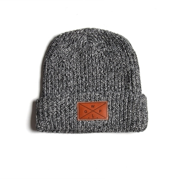 ac57b4d22e4 Promotion Cuff Knit Your Leather Patch Logo High Quality Beanies Hat ...