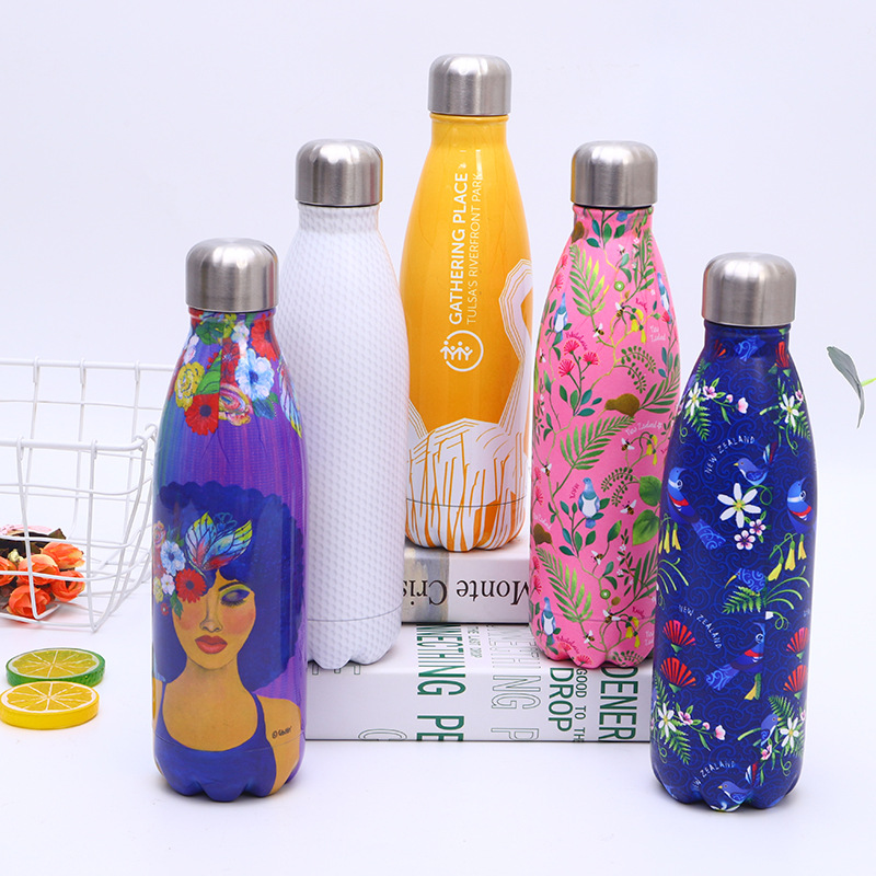 Full Print Tumbler Outdoor Travel Mug Fashionable Colp Shape  Water Bottle With Lid