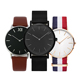 Custom Logo Simple Minimalist Mens Wrist Watch Valentine Quartz nylon strap and Leather strap stainless steel mesh band watch