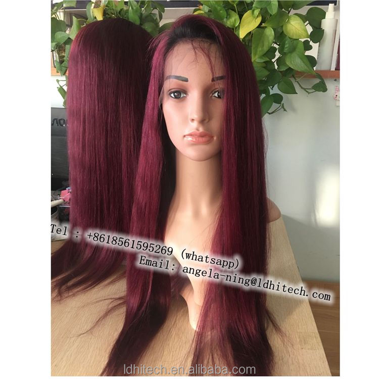 factory outlet 8a grade 100% natural hair narural hair line 1B99j virgin brazilian full lace human hair wig