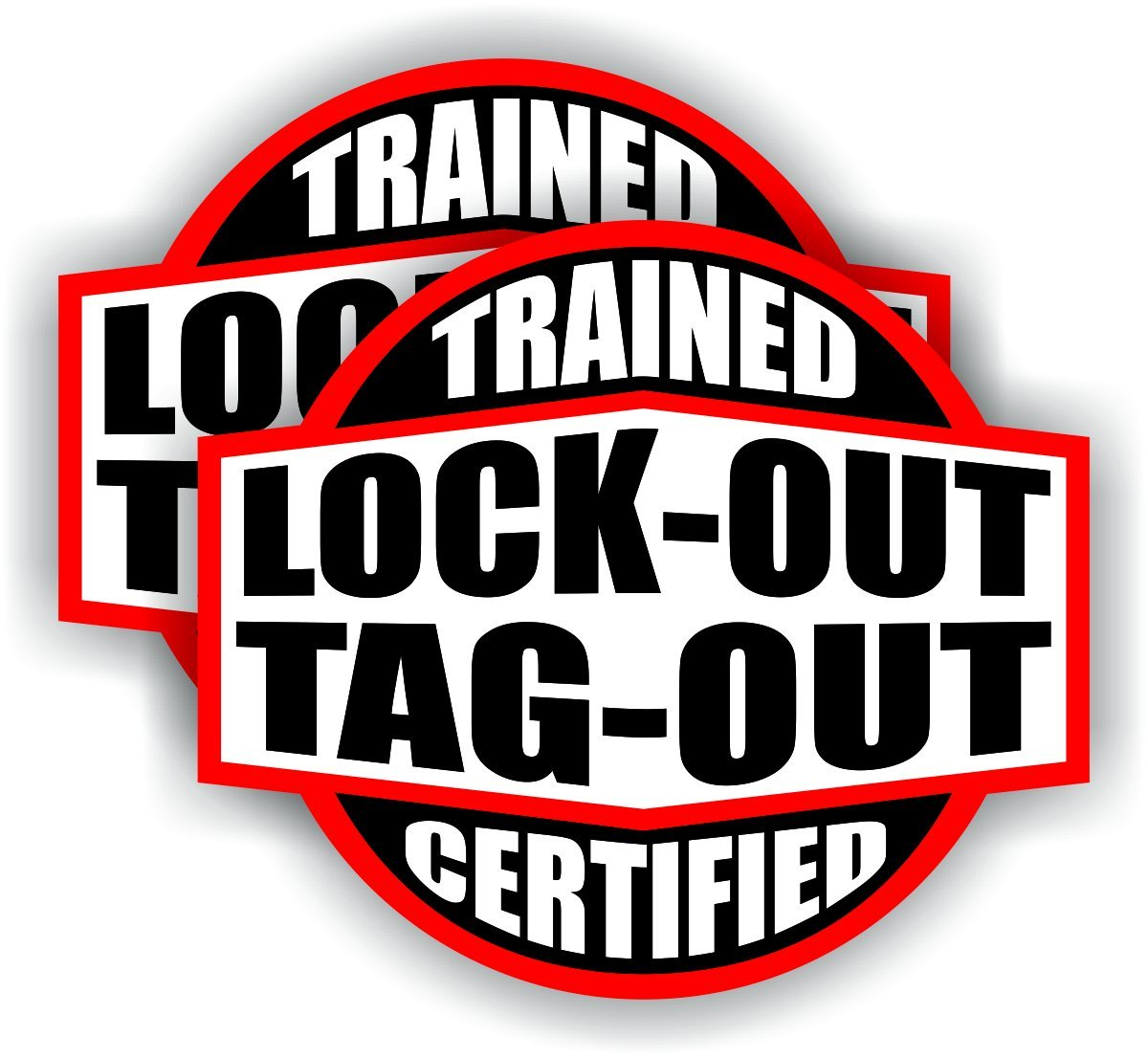 Pair - Lockout Tagout Trained Certified Hard Hat Stickers | Helmet Decals Labels Toolbox Badges Electrical Safety Lock Out Tag Lineman Wiring Electrician Lineman