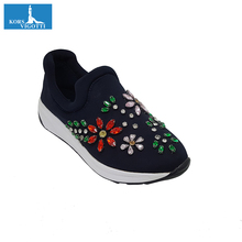 6680-13 lady casual canvas shoes flat ladies shoes and fancy sneakers
