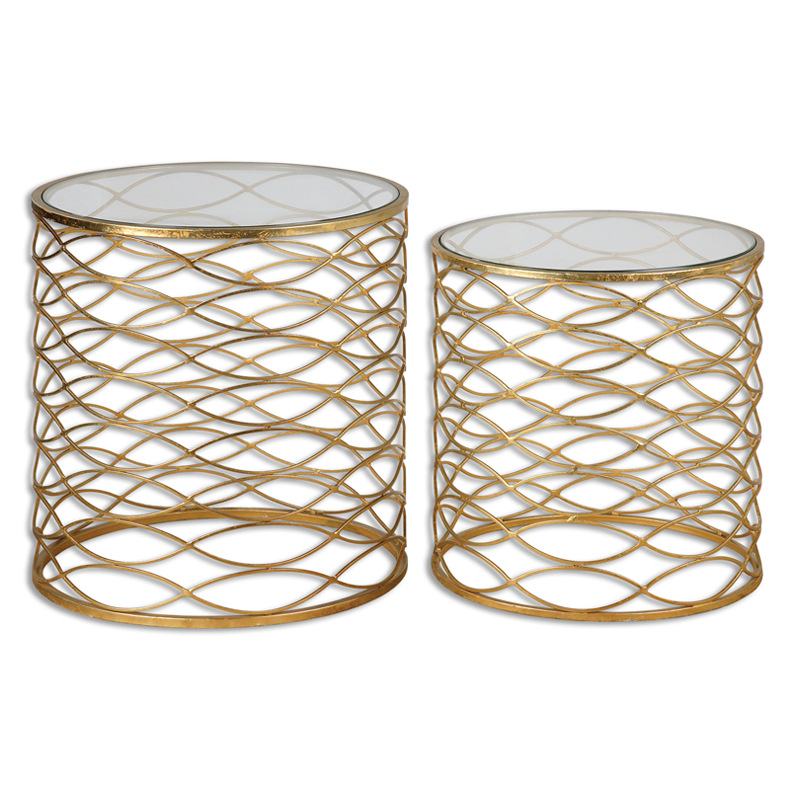 Modern metal living room furniture round stainless steel side table