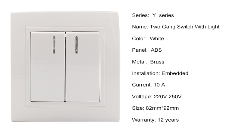 Customer Color Eu 2 Gang 2 Way Switch Light Switch With