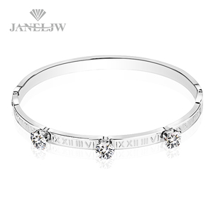 Letter Engraved Stainless Steel Bangle Diamond Bracelet With Zircon Inlay