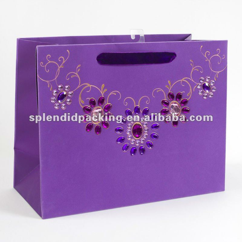 Jeweled Broach Amethyst Large Gift Bag