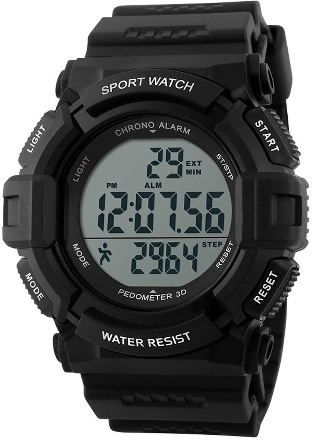 Carlien Sports Digital Watch with Pedometer 3D Function 5ATM Water Resistant for Men Students