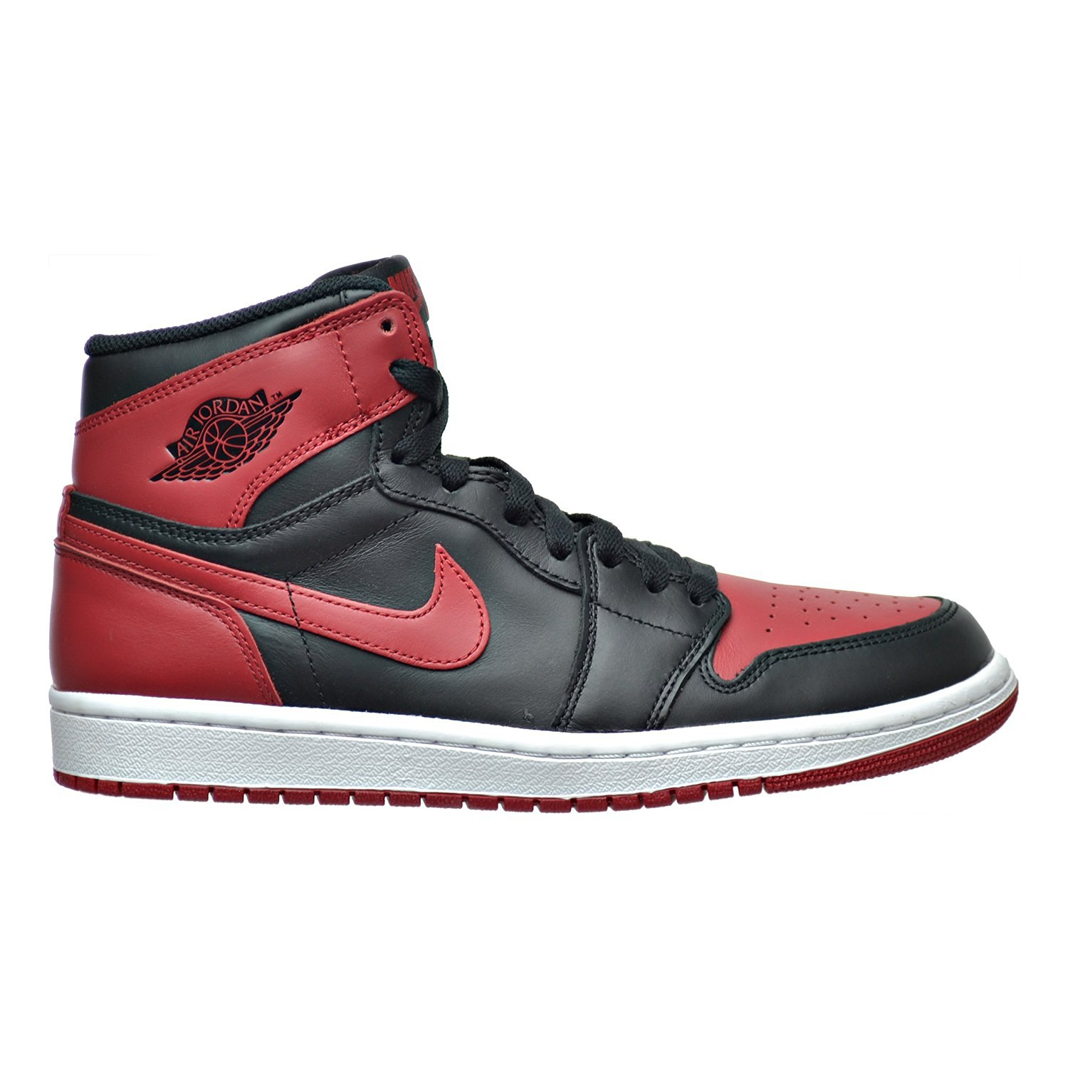 "Nike Mens Air Jordan 1 Retro High OG ""Bred"" Leather Basketball Shoes"