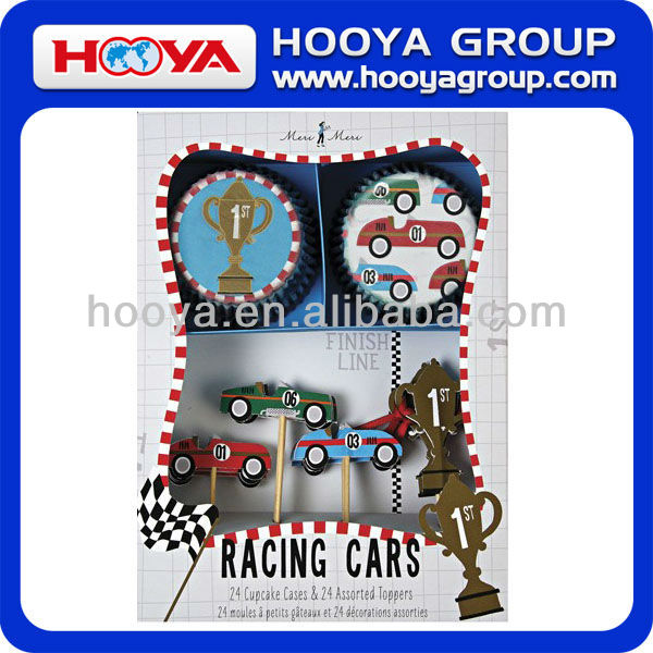 Racing Cars Cupcake Decorating Kit, Food grade 24 Paper Cup Cake Cases and 24 Assorted Toppers