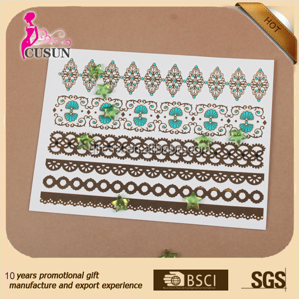 art skin safe temporary fake jewelry tattoo sticker for kids