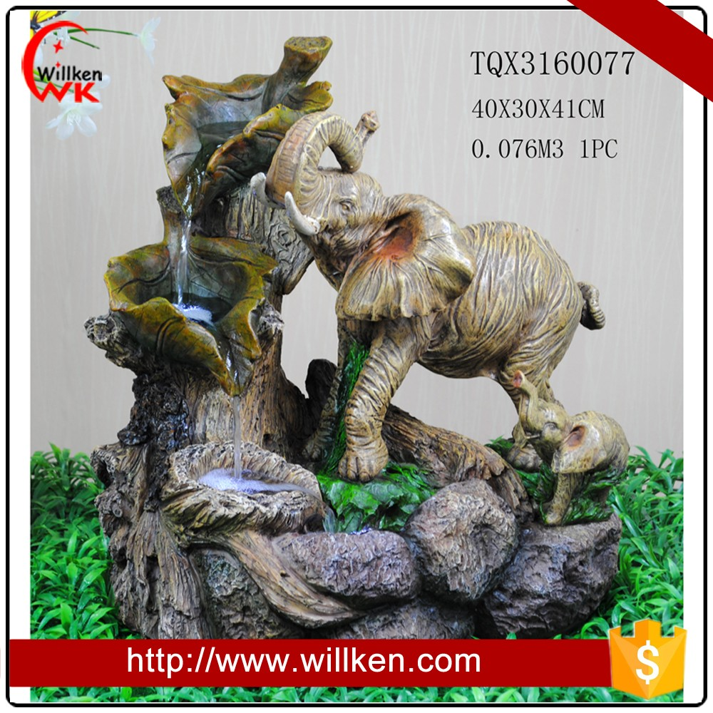Elephants statues resin waterfall outdoor fountain with landscape