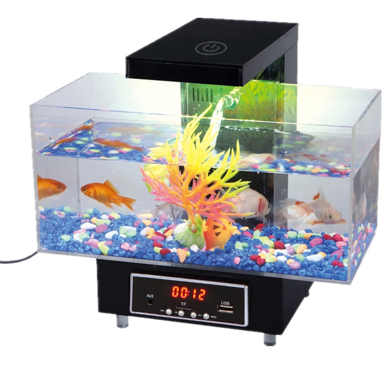 USB Desktop Elektronische Aquarium Mini Aquarium met Water Running LED Pomp Licht Kalender Wekker