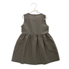 hot sale dark grey linen fabric dress with buttons and big pocket in front sleeveless baby girl dress