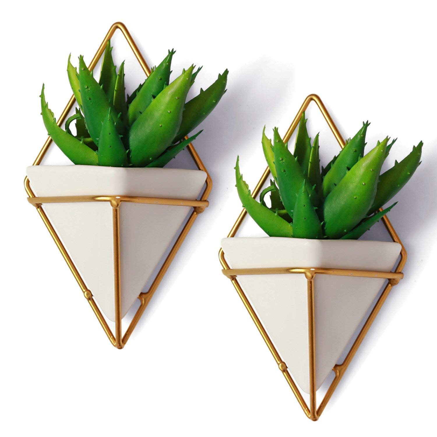 2 Small Decorative Geometric Hanging Planters Pot for Indoor Wall Decor, Planter for Succulent Plants, Air Plant, Cacti, Faux/Artificial Plants, White Ceramic/Brass