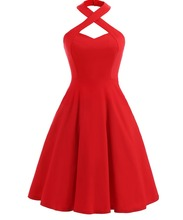 Wanita Vintage 1950 s Halter Cocktail Party <span class=keywords><strong>Gaun</strong></span> Ayunan