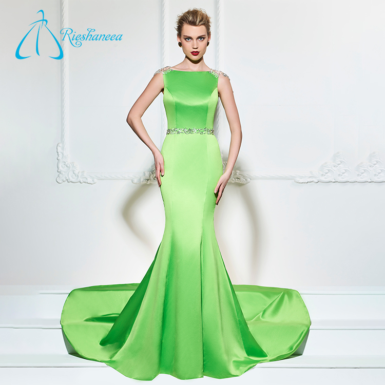 Crystal Sequined Button Satin Sale Mermaid Sexy Evening Dress