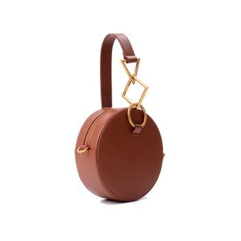 Fashion Designer Bags Circular Ring Handle Women Handbag Real Leather Black  Shoulder Messenger Bag Lady Portable