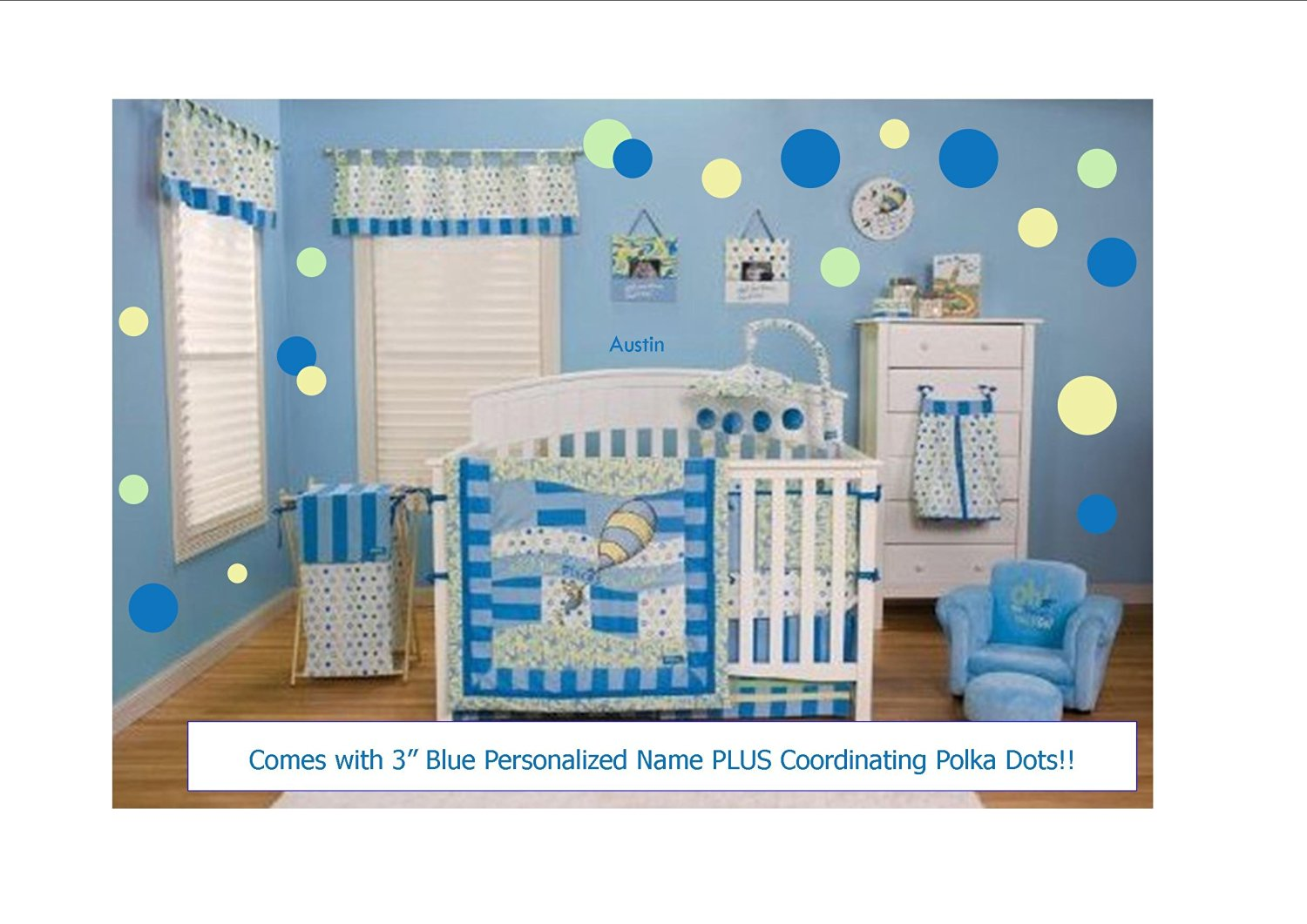 Get Quotations · Dr. Seuss Oh! The Places You Will Go Blue 10 Pc Nursery  Bedding Ensemble