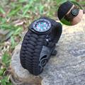 2016 New 9 Paracord Survival Bracelet Camping Compass Flint Fire Starter Whistle Gear Kit H1E1