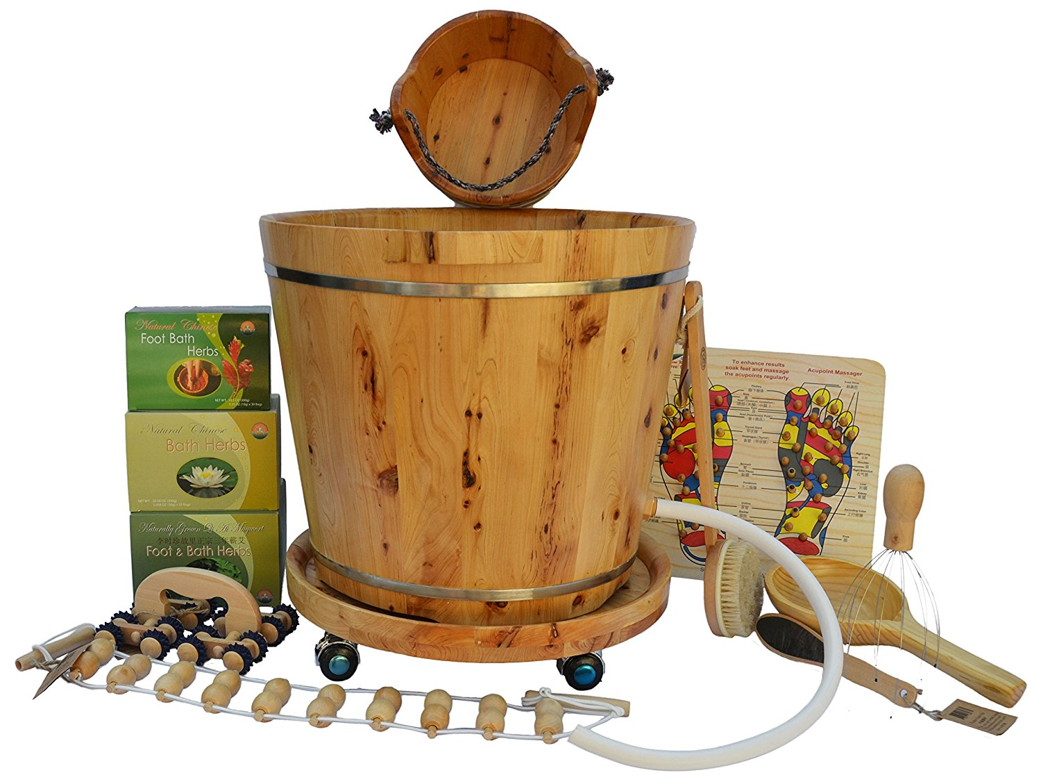 Shine Ultimate New Arrivals Foot Soak Spa Bundle - 13 items: Tall Cedar Wood Tub with Drainage Hole & Tube, Small Cedar Wood Bucket, Cedar Wood Tub Wheels, Acupoint Foot Board, Head/Scalp Massager