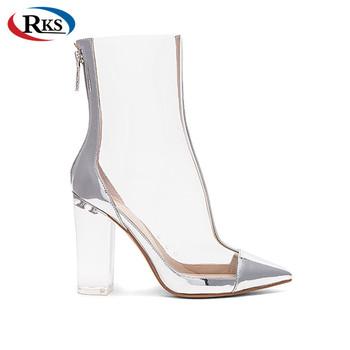 premium selection 9573c f542b Women Clear Vinyl Metallic Leather High Heel Fashion Boots - Buy Women  Boots,Women Fashion Boots,Ankle Boots Product on Alibaba.com
